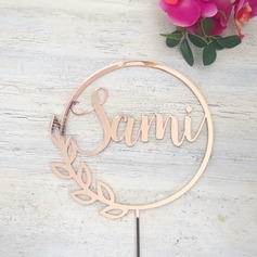 Personalized Wreath Acrylic/Wood Cake Topper