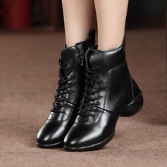 Women's Leatherette Real Leather Sneakers Dance Boots With Lace-up Dance Shoes