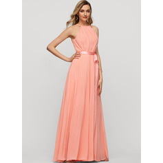 A-Line Scoop Neck Floor-Length Chiffon Evening Dress With Bow(s) Pleated (271253249)