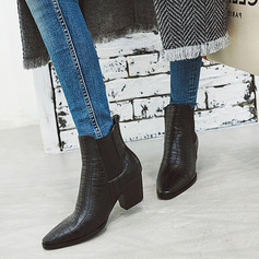 Women's PU Cone Heel Boots Ankle Boots With Animal Print Elastic Band shoes