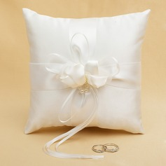 Simple Ring Pillow in Satin With Ribbons/Rhinestones