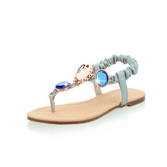 Leatherette Flat Heel Sandals Flats With Rhinestone shoes