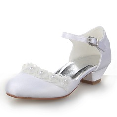 Lukket Tå Satin lav Heel Pumps Flower Girl Shoes med Spenne Imitert Perle
