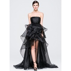 A-Line/Princess Strapless Asymmetrical Organza Prom Dress With Bow(s) Cascading Ruffles
