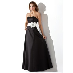 Empire Sweetheart Floor-Length Satin Bridesmaid Dress With Sash Beading Flower(s)