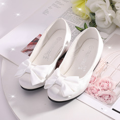 Girl's Closed Toe Flower Girl Shoes With Bowknot