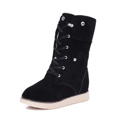 Women's Suede Wedge Heel Closed Toe Wedges Boots Mid-Calf Boots With Rivet Lace-up shoes