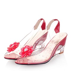 Women's Leatherette Wedge Heel Sandals Wedges Peep Toe With Flower shoes