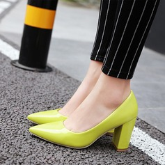 Women's Patent Leather Chunky Heel Pumps Closed Toe shoes (085117323)