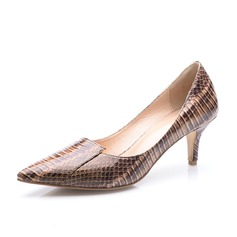 Patent Leather Low Heel Pumps Closed Toe shoes (085063692)