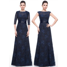 A-Line/Princess Scoop Neck Floor-Length Lace Mother of the Bride Dress With Ruffle Beading Sequins