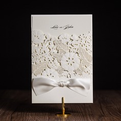 Artistic Style Wrap & Pocket Invitation Cards With Ribbons