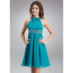 A-Line/Princess Scoop Neck Short/Mini Chiffon Cocktail Dress With Ruffle Beading