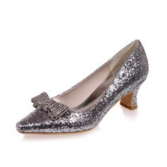 Women's Sparkling Glitter Chunky Heel Closed Toe Pumps