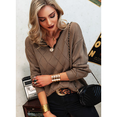 V-Neck Long Sleeves Casual Pullovers (1002265161)
