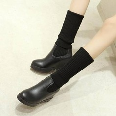 Women's PU Wedge Heel Wedges Knee High Boots With Elastic Band shoes