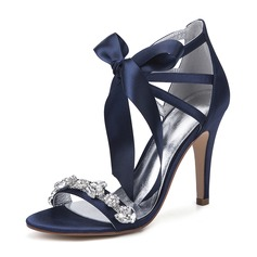 Women's Silk Like Satin Stiletto Heel Peep Toe Pumps Sandals With Bowknot Rhinestone Ribbon Tie Lace-up