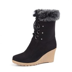 Women's Suede Wedge Heel Pumps Platform Wedges Boots Mid-Calf Boots With Lace-up shoes