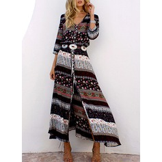 Polyester With Print Maxi Dress (199129369)