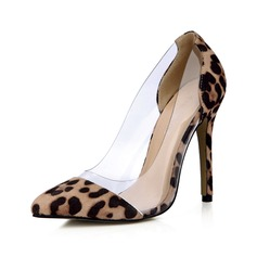 Suede Plastics Stiletto Heel Pumps Closed Toe shoes