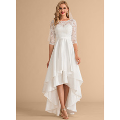 Scoop Neck Asymmetrical Satin Lace Wedding Dress (265236051)
