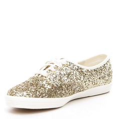Women's Sparkling Glitter Low Heel Closed Toe With Lace-up (047146127)