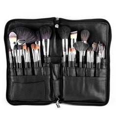 Natural Goat Hair Fabulous 32Pcs Black PU Bag Makeup Supply