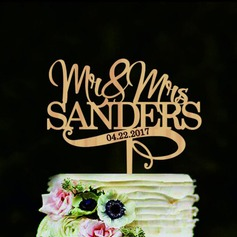 Personlig Mr & Mrs Wood Kake Topper