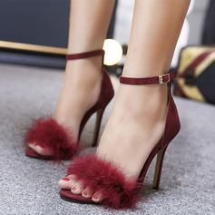Kids' Microfiber Leather Stiletto Heel Peep Toe Platform Sandals With Feather
