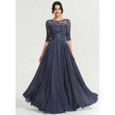 A-Line/Princess Scoop Neck Floor-Length Chiffon Evening Dress With Sequins (017167702)