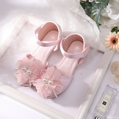 Girl's Round Toe Closed Toe Mesh Low Heel Flower Girl Shoes With Velcro Flower