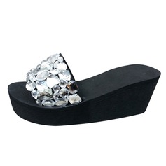 Women's Cloth Wedge Heel Sandals Slippers With Rhinestone shoes (087089792)