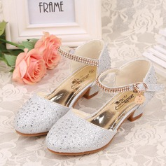Jentas Lukket Tå Leather lav Heel Flower Girl Shoes med Rhinestone