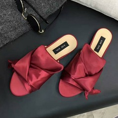 Women's Satin Flat Heel Sandals Peep Toe Slippers shoes