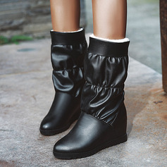 Women's Leatherette Low Heel Mid-Calf Boots Snow Boots With Ruffles shoes