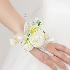 Pen Fri Form Satin Håndledd Corsage -
