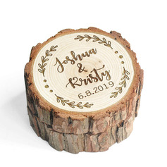 Personalized Rustic Wood Ring Box