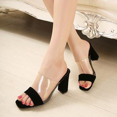 Women's Suede PVC Stiletto Heel Sandals Pumps Peep Toe Slingbacks With Split Joint shoes