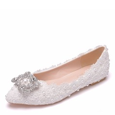 Women's Leatherette Flat Heel Closed Toe With Buckle Applique