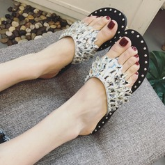 Women's Flat Heel Sandals Peep Toe Slippers With Rhinestone shoes