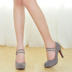 Women's Suede Closed Toe Platform Pumps With Buckle