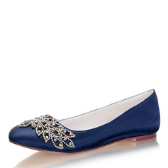 Women's Silk Like Satin Flat Heel Closed Toe Flats With Crystal