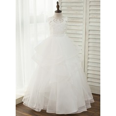 Ball Gown Floor-length Flower Girl Dress - Tulle/Lace Sleeveless Scoop Neck With Back Hole