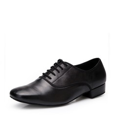 Men's Real Leather Latin Ballroom Practice Character Shoes With Lace-up Dance Shoes