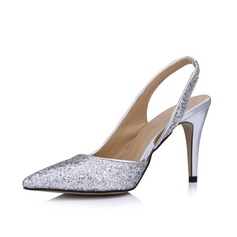 Women's Leatherette Sparkling Glitter Cone Heel Closed Toe Pumps Slingbacks