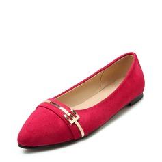 Frauen Veloursleder Flascher Absatz Flache Schuhe Geschlossene Zehe mit Schnalle Schuhe