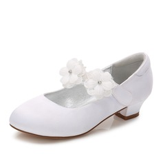 Girl's Round Toe Closed Toe Mary Jane Silk Like Satin Low Heel Flower Girl Shoes With Rhinestone Velcro Applique