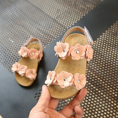 Jentas Titte Tå Leather Sandaler Flate sko Flower Girl Shoes med Blomst
