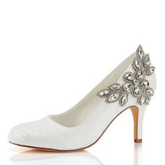 Women's Silk Like Satin Stiletto Heel Closed Toe Pumps With Others