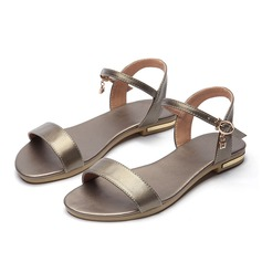 Women's Real Leather Flat Heel Sandals Flats Peep Toe With Buckle shoes (087109531)